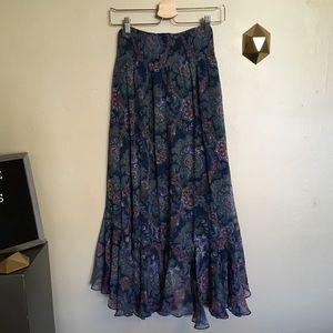 Anthropologie Skirts - Vanessa Virginia Paisley Silk Hi Low Maxi Skirt 0